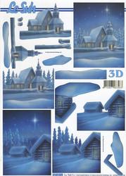 Lesuh 3d-kuva sininen talvimaisema  ja joulukirkko a4 4169.529
