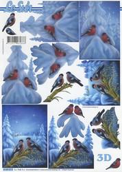 Lesuh 3d-kuva talvimaisema, punatulkut ja kauralyhde a4 4169.513