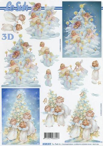 Lesuh 3d-kuva enkelit ja suuri kuusipuu a4 4169.317