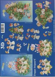 Lesuh 3d-kuva enkelit, kynttilät ja kuusi a4 4169219