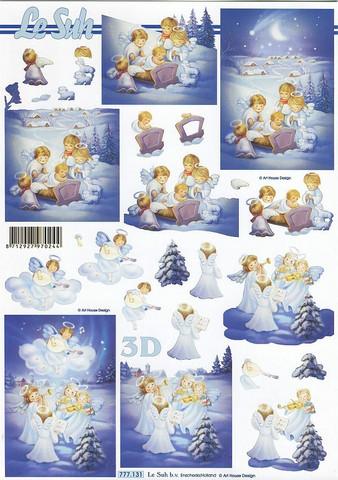 Lesuh 3d-kuva pikku enkelit ja seimi a4 777.131