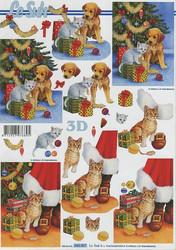 Lesuh 3d-kuva joulukissat ja koirat a4 650.007