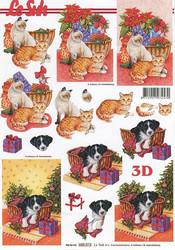 Lesuh 3d-kuva joulukissat ja koira a4 650.012