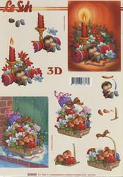 Lesuh 3d-kuva joulu nukkuva siili ja hiiri a4 4169.01