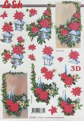 Lesuh 3d-kuva kynttilät ja joulutähdet a4 777.339