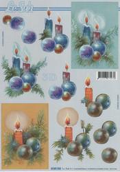 Lesuh 3d-kuva joulukynttilät sininen/ruskea a4 4169.182