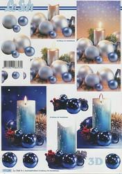 Lesuh 3d-kuva hohtavat joulupallot ja kynttilät a4 777.335