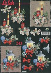 Lesuh 3d-kuva upeat kynttilät, lyhty + tumma tausta a4 777.212