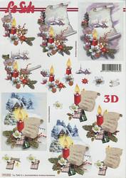 Lesuh 3d-kuva käärö, kynttilät ja talvimaisemat a4 777.372