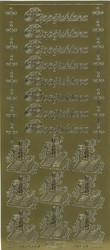 Ääriviivatarrat Rippijuhlana + ristit ja koristeet kulta 1604