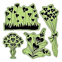 Inkadinkado cling leimasimet Heart shapes flowers