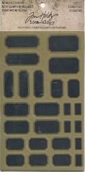 Tim Holtz metallic labels tarrat 4 arkkia