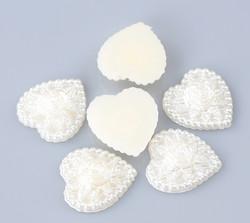 Resin sydänkoriste 10kpl lunnonvalkoinen