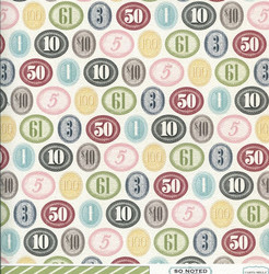 Skräppäyspaperi Carta Bella So Inked Numerals 30,5x30,5cm