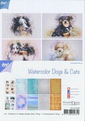 Joy Craft Watercolor Dogs & Cats paperisetti 10kpl a4