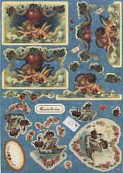 Victorian Valentine stanssatut 3d-kuvat ja taustapaperit 8kpl