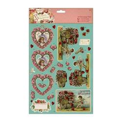 Victorian Valentine Hearts stanssatut 3d-kuvat ja taustapaperit 8kpl
