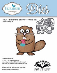 Elizabeth Craft Designs Baker the Beaver -stanssisetti