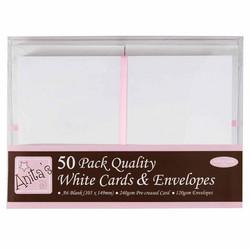 Anita's A6 korttipohja ja yhteensopiva kirjekuori,  valkoinen, 50 kpl