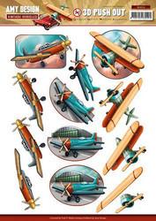 Amy Design valmiiksi leikatut 3D-kuvat Vintage Vehicles Lentokoneet