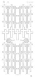 Ääriviivatarrat, risti, sävy hopea mirror (peilaa)