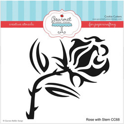 Gourmet Rubber Stamps sapluuna Rose With Stem