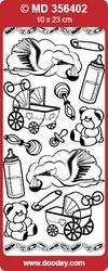 Ääriviivatarra, hienokaiverrettu, hopea, vauvahaikara