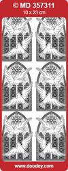 Ääriviivatarra, hienokaiverrettu, kulta, ikkuna ja kyyhkyt