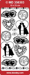 Ääriviivatarra, hienokaiverrettu, hopea, rakkaus