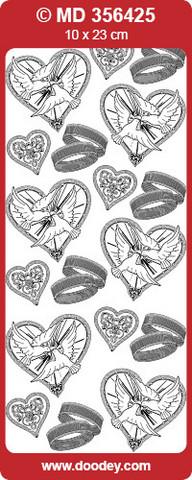 Ääriviivatarra, hienokaiverrettu, hopea / läpinäkyvä, sormukset ja kyyhkyset
