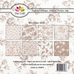 Dixi Craft Retro Flowers, Brown -paperipakkaus