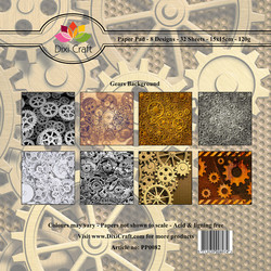 Dixi Craft Gears Background -paperipakkaus