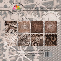 Dixi Craft Gears Background, Brown -paperipakkaus