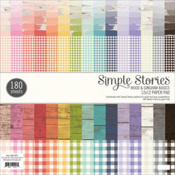 Simple Stories Wood & Gingham -paperipakkaus, 12