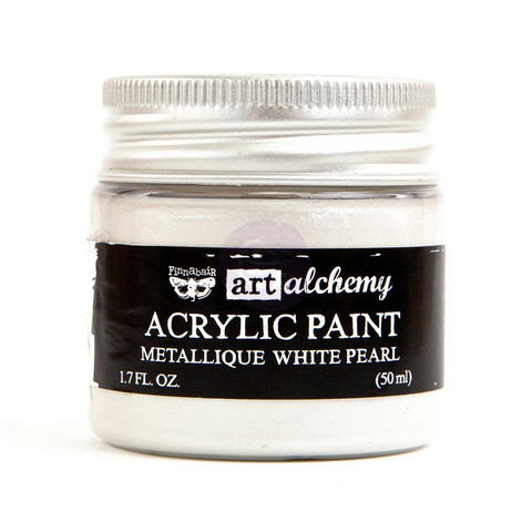 Finnabair Art Alchemy akryylimaali. Sävy Metallique White Pearl