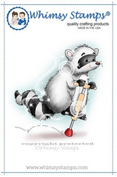 Whimsy Stamps Hopping Raccoon -leimasin