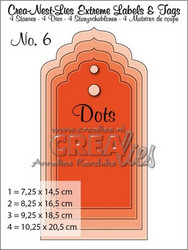 Crealies Extreme labels & tags no 6 with dots -stanssisetti