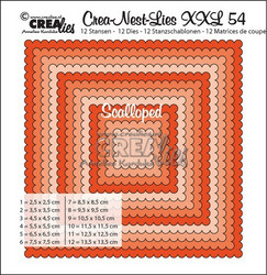 Crealies XXL 54 -stanssisetti scalloped squares