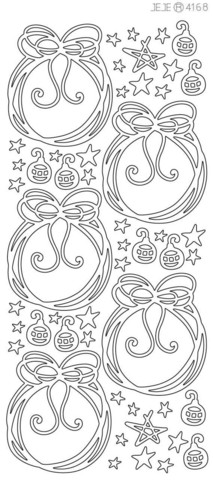 Ääriviivatarra, Joulupallot, kimallevalkoinen