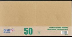 CraftUK korttipohjat ja kirjekuoret, kraft, 6