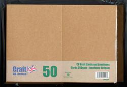 CraftUK korttipohjat ja kirjekuoret, kraft, A6, 50 kpl