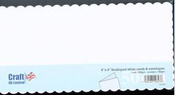 CraftUK korttipohjat ja kirjekuoret, scalloped (piparireuna), valkoinen, 6