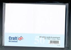 CraftUK korttipohjat ja kirjekuoret, valkoinen, A6, 50 kpl