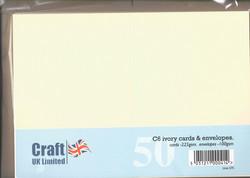 CraftUK korttipohjat ja kirjekuoret, kerma, A6, 50 kpl
