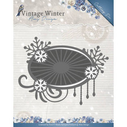 Amy Design Vintage Winter stanssi Snowflake Swirl Label
