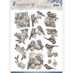 Amy Design Vintage Winter valmiiksi leikatut 3D-kuvat Winter Birds