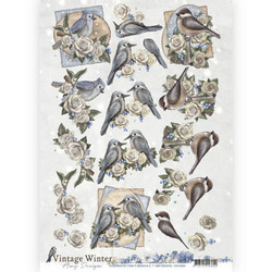 Amy Design Vintage Winter 3D-kuvat Winter Birds