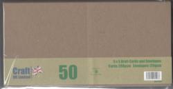 CraftUK korttipohjat ja kirjekuoret, kraft, 5
