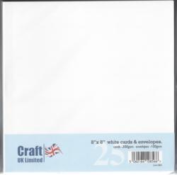 CraftUK korttipohjat ja kirjekuoret, valkoinen, 8