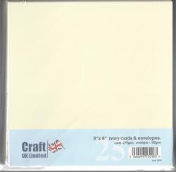 CraftUK korttipohjat ja kirjekuoret, kerma, 8